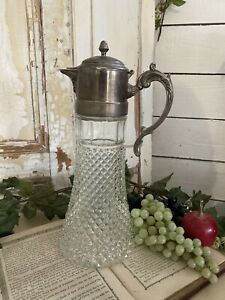 Old c1900s GLASS Silver Plate VINTAGE Cut Lead Crystal DECANTER CLARET JUG