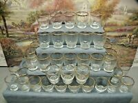 """46 ~ VINTAGE CLEAR GLASS  2.75"""" TUMBLERS WITH GOLD  TRIM"""