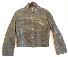 VERSACE Jeans Couture Taupe Snake Pattern LEATHER Motorcycle Jacket ITALY sz L