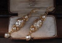 Vintage Jewellery Gold Flower, Leaf & Baroque Pearl Long Drop Earrings. Haskell