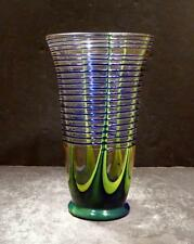 Vintage Bohemian Czech Clear Tumbler, Blue And Green Base, Cobalt Threading MINT