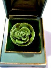 MEDIUM GREEN CONTEMPORARY NEW OLD STOCK CARVED ROSE RING LARGE CHUNKY PLASTIC