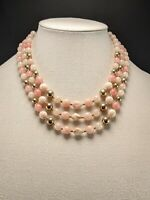 Vintage Multi Strand Pink & Cream Lucite & Gold tone Bead Necklace Japan