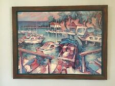 Mid Century Manfred H Kuhnert Oil Canvas Expressionistic Painting Yacht Harbor