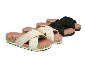 【EXTRA20%OFF】NEW UGG Women Espadrilles Slide Hemp Sandals Milo Beige Black