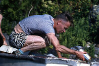 Vintage Kodachrome Red Border Slide 1950s Man Bailing Out a Boat Swim Trunks