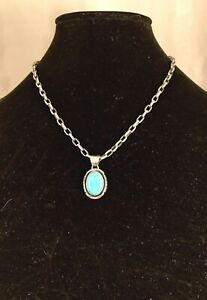 Navajo Handmade Sterling Silver & Turquoise Pendant by Will Denetdale