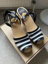 Swedish Hasbeens 39 Black and White High Sandals
