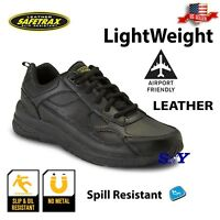men's work safety shoes black leather slip resistant shoe boots boot st