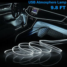 98ft White Led Car Interior Decor Atmosphere Wire Strip Light Lamp Accessories