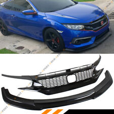 FOR 2016-18 HONDA CIVIC FRONT BUMPER LIP SPOILER + GLOSSY BLACK HONEYCOMB GRILLE