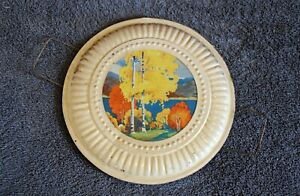 """Vintage 8"""" Flue Cover with Wire Holders -- Fall/Autumn Country Scene"""