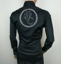 """Versace Mens Dress Shirt Black VJC Spell Out Stretch Size L Chest 42"""" RRP£389"""