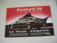advertising Pubblicità 1989 RENAULT 19 CHAMADE
