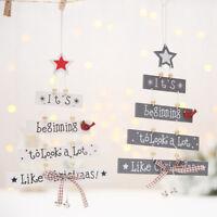 Christmas tree wooden hanging pendant store door Ornament Xmas home decor FG