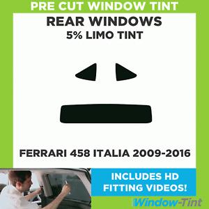 Pre Cut Window Tint - Ferrari 458 Italia 2009-2016 - 5% Limo Rear
