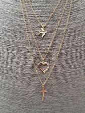 Bird Diamante Heart and Cross Gold Layered Triple Multi Layer Necklace
