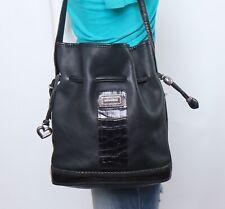 BRIGHTON Med Black Leather Shoulder Hobo Tote Satchel Purse Bag
