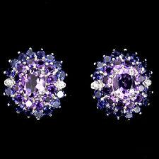 Sterling Silver 925 Large Genuine Natural Amethyst & Iolite Cluster Earrings