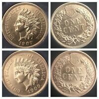 1907 & 1909 INDIAN HEAD PENNYS  4 DIAMONDS, NICE PENNYS, CLEANED