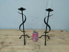 2 Vintage candle holders candlesticks iron black color pair branch light