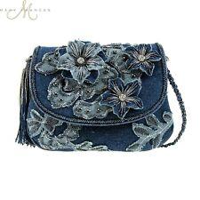 Mary Frances Good Jeans Beaded Jewel Blue Denim Flower Mini Handbag Shoulder Bag