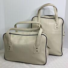 Vinyl Purse Travel Bag Set British Colony Hong Kong Ivory Vintage Carry On