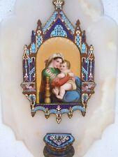 Bénitier émaux cloisonné Vierge à l'Enfant Madone époque 19ème