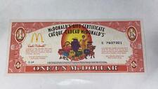 McDonald's Canada Gift Certificate 2002 ONE/UN McDOLLAR Rare !! Mint Condition !