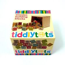 Wooden Building Blocks in Storage Box Letters Alphabet Numbers Shapes 10m+