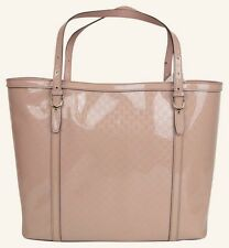 """GUCCI 309613 Pink Patent Leather Monogram Embossed """"Microguccissima"""" Tote Bag"""