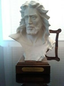 Vintage Ceramic Bust Jesus Of Nazareth / Wood Pedestal Base / Artist Gary Price
