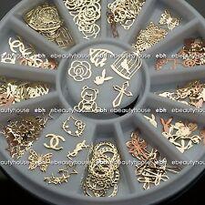 12 Shape Noble Gold Mixed Design Metal Glitters Slice Nail Art Decoration EB-106