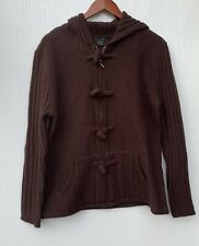 Tally Ho Women's Full Zip Front Cardigan Sweater Size L Brown Pockets 100% Wool