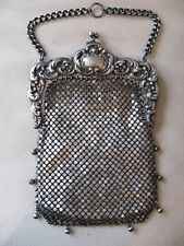 Antique Art Nouveau G Silver Lined Chatelaine Chain Mail Kilt Purse Purse BLISS