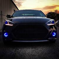 Pair Blue Fog Lamps Halo Driving Lights Bulbs Kit For Hyundai Veloster Turbo