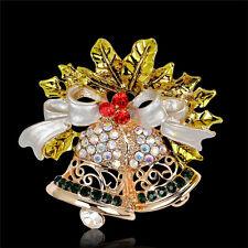 Christmas Bell Brooch Pin W Swarovski Crystal Xmas Gift Clothing Decoration  OZ