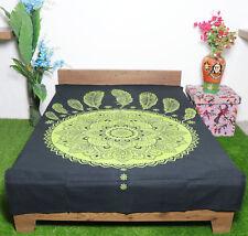 Hippie Single Size Cotton Mandala Tapestry Wall hanging Green Yoga Beach Throw