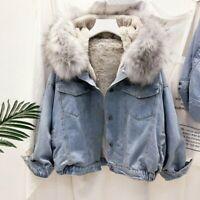 Lady Fleece Lined Denim Jacket Coat Warm Thicken Hooded Faux Fur Collar Winter