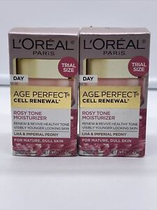 2PK Loreal Age Perfect Cell Renewal Rosy Tone Moisturizer Trial Size 0.5 oz