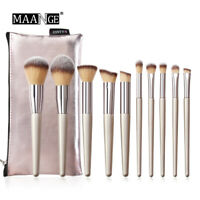 10Pcs Champagne Makeup Brush Set For Foundation Powder Blush Cosmetic Brush Tool