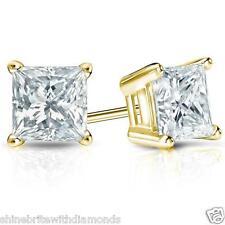 2 Ct Princess Cut Earrings Studs Real 14K Yellow Gold Brilliant Basket Screwback