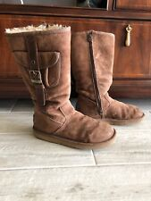 UGG Australia Classic Tall  CHESTNUT Leather Suede Sheep Skin Lining  Size 7
