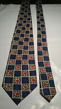 Burton Men's Vintage Tie in Navy Blue Green Bronze and White Geometric Pattern