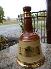 """Vintage Brown Gold Bottle Ceramic Bells Old Scotch Whiskey Decanter Wade 10"""""""