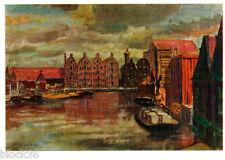 1960 Russian postcard PORT OF AMSTERDAM by A.Ostroumova-Lebedeva
