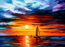 """Touch Of Horizon — Oil Painting On Canvas By Leonid Afremov. 40""""x30"""" Seascape"""