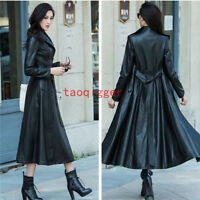 Women's Trench Coat Full Length Leather Single Breasted Belt motorcycle Jacket