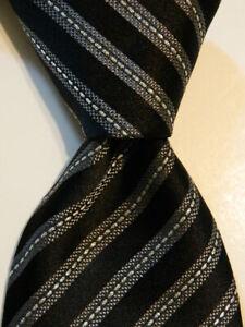 ERMENEGILDO ZEGNA Men's Silk Blend Necktie ITALY Luxury STRIPED Black/Gray EUC