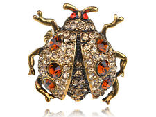 Chubby Big Gold Light Topaz Beetle Insect Bug Crystal Rhinestone Charm Rings
